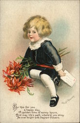 Young Child Holding Red Flowers