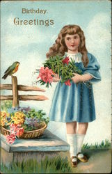 Girl with Flowers and Bird