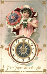 New Year's Greetings - Child with Flowers and a Clock