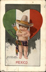 Mexico - Mexican Cupid and Flag-Colored Valentine