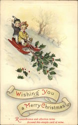 Wishing You A Merry Christmas - Children on Sled, Holly