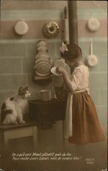 Girl with Kitten in the Kitchen - French Language