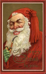 A Merry Christmas To You - Smiling Santa with Pipe