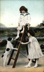 Children with Ladder and Dog