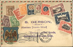 S, Gerson, Dealer in Mexican Drawn Work and Carved Leather Goods