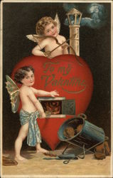 To My Valentine - Cupids Feeding Woodl Into A Valentine Stove