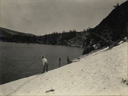 Fishing from Snow Bank in July Echo Lake Rare Original Photograph Original Photograph