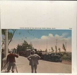 Taking Movies of the Miniature Train Rare Original Uncut Postcard Proof