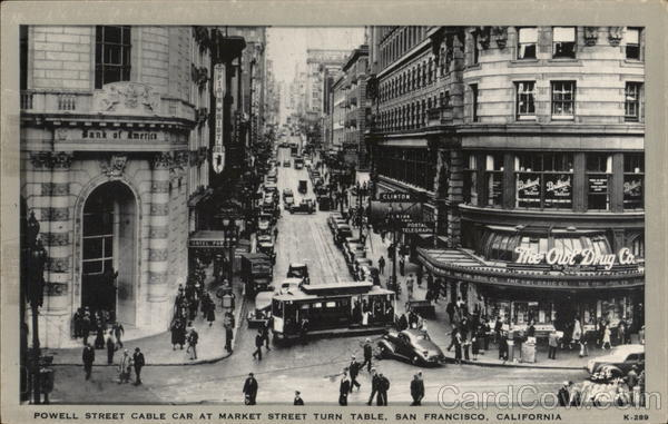 Powell Street Cable Car at Market Street Turn Table San Francisco California