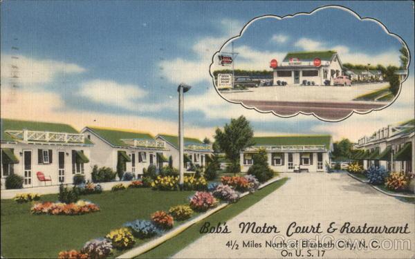 Bob 39 s motor court restaurant elizabeth city nc postcard for Bob s electric motor