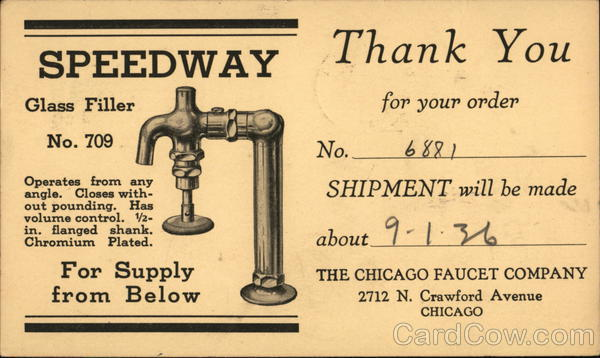 Chicago Faucet Company - Thank You for Your Order Advertising