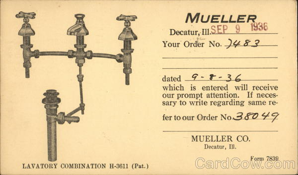 Mueller Co., Decatur, Ill. - Order Confirmation Card