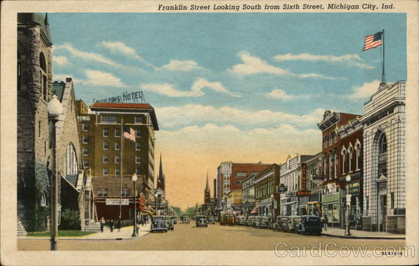 Franklin Street Looking South from Sixth Street Michigan City Indiana