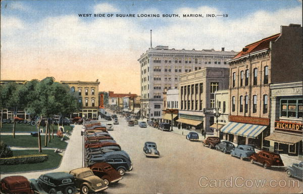 West Side of Square Looking South Marion Indiana