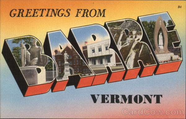 Greetings From Barre, Vermont Large Letter
