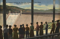 Visitors View the Dam from Gallery, vista House, Shasta Dam