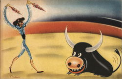 Mexican Bull Fighter and Bull Postcard