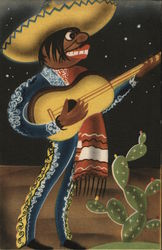 Mexican Musician Playing Guitar Postcard