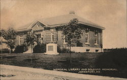 Memorial Library and Soldiers Memorial Postcard