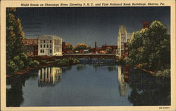 Night Scene on Shenango River showing P.H.C. and First National Bank Buildings