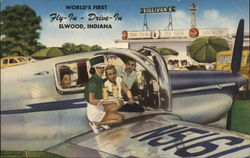 Rare: World's First Fly-In Drive-In Elwood, Indiana Postcard