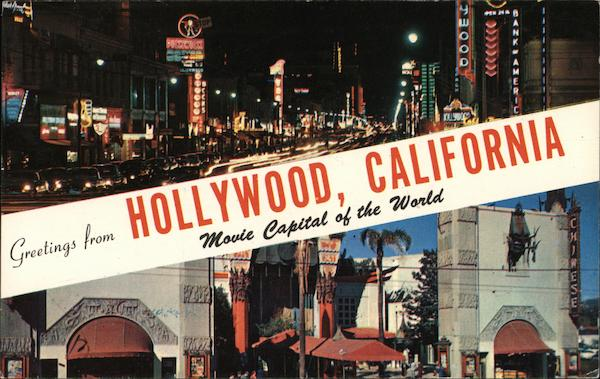 Greetings from hollywood california postcard m4hsunfo