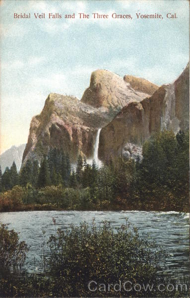 Bridal Veil Falls and The Three Graces Yosemite California