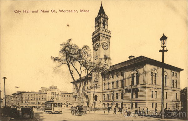 City Hall and Main Street Worcester Massachusetts