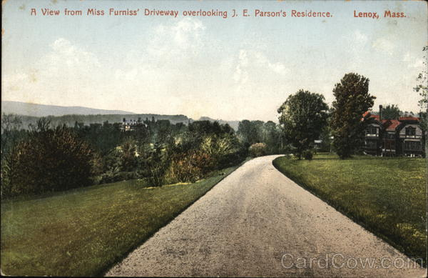 A View from Miss Furniss' Driveway Overlooking J. E. Parson's Residence Lenox Massachusetts