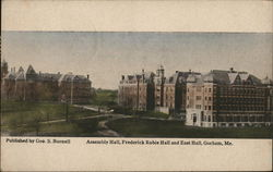 Assembly Hall, Frederick Robie Hall and East hall Postcard