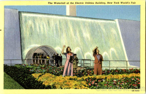 The Waterfall At Electric Utilities Building 1939 NY World's Fair