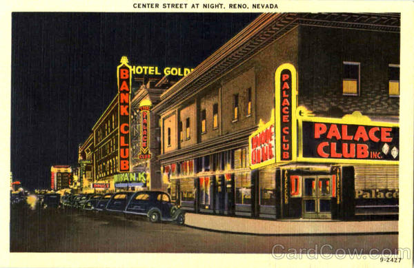 Central Street At Night Reno Nevada