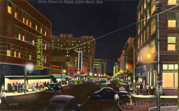 Main Street at NIght Little Rock Arkansas