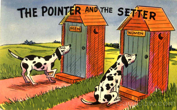 The Pointer And The Setter Outhouses & Bathrooms Dogs