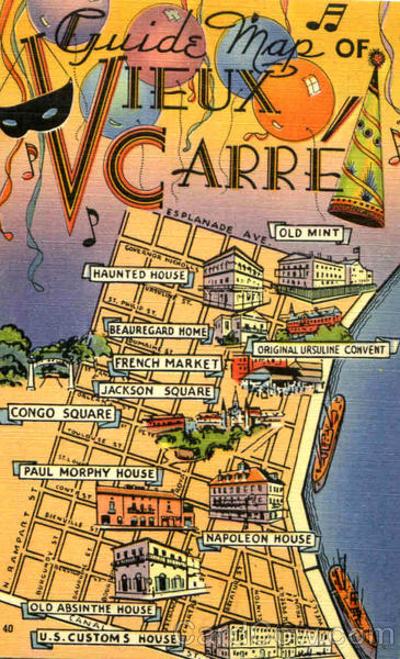 Guide Map Of Vieux Carre New Orleans Louisiana Maps