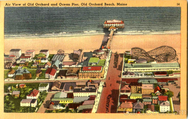 Air View Of Old Orchard And Ocean Pier Old Orcheard Beach Maine