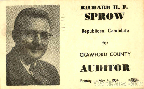 Richard H. F. Sprow Crawford County Auditor Bucyrus Ohio