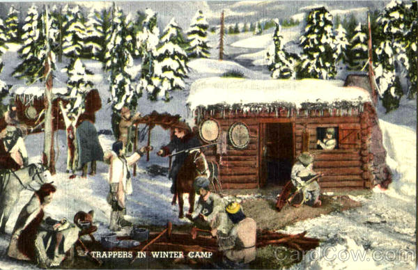Trappers In Winter Camp Camping