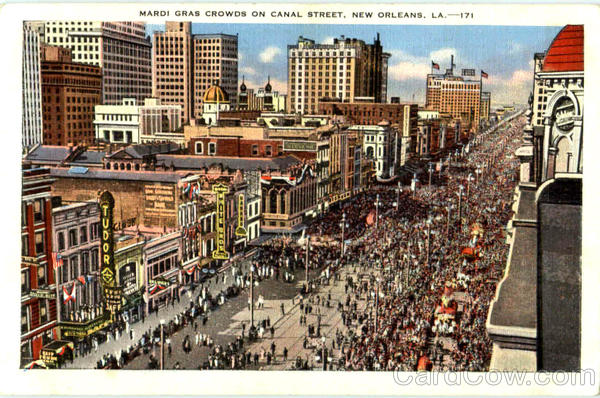 Mardi Gras Crowds On Canal Street New Orleans Louisiana
