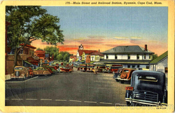 Main Street And Railroad Station, Hyannis Cape Cod Massachusetts