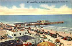 Aerial View Of Beach And Pier Postcard