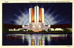 Beautiful Federal Building At Night Postcard