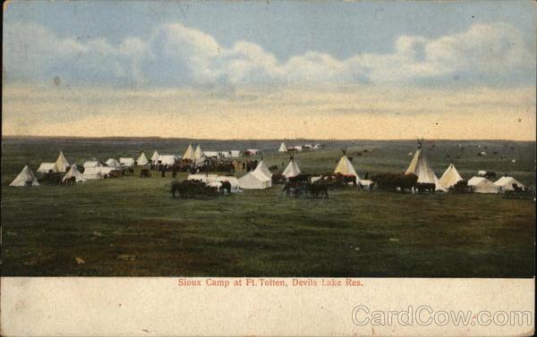 Devils Lake Nd >> Sioux Camp, Devil's Lake Reservation Fort Totten, ND Postcard