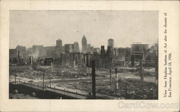 View from Hopkins Institute of Art after the Disaster of April 18,1906 san Francisco California