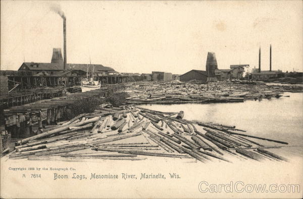 Boom Logs, Menominee River Marinette Wisconsin