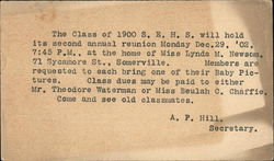 Notice of S. E. H. S. Class of 1900 Second Annual Reunion