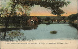 Riverview Boat House and Prospect St. Bridge, Charles River