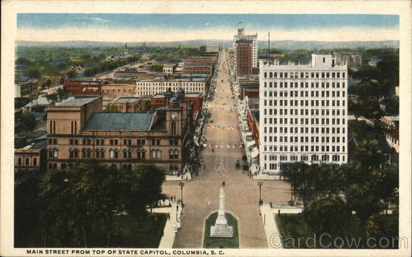 Main Street from Top of State Capitol Columbia South Carolina