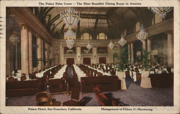 The Palace Palm Court - The Most Beautiful Dining Room in America San Francisco California