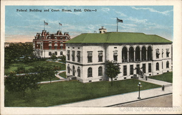 Federal building and court house enid ok postcard for Building a house in oklahoma